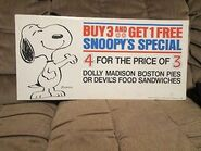Dolly madison peanuts snoopy's special sign