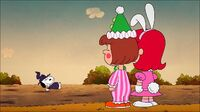 Patty and Little Red Haired Girl are laughing at Snoopy after mishap with big pumpkin