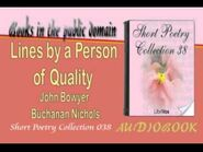 Lines by a Person of Quality John Bowyer Buchanan Nichols Audiobook Short Poetry
