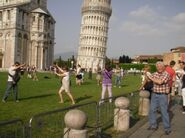 Silly tourists at Leaning Tower of Pisa