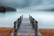 Beautiful pier into lake