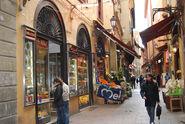 Bologna market street shops