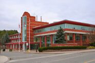 Aurora Town Hall in red