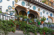 Decorated facade in streets of Albayzin neighborhood