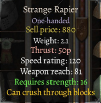 Strange Rapier stats