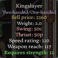 Kingslayer stats