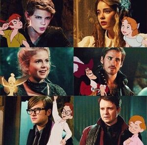Robbie Kay as Peter Pan, Freya Tingley as Wendy Darling, Rose McIver as Tinker Bell, Colin O'Donoghue as Captain Hook, Matt Kane as John Darling and James Immekus as Michael Darling.