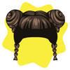 Chinese double bun wig
