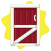 Red farm barn door