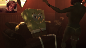 Spongebob getting a lap dance (and PewDie obviously enjoying watching it)