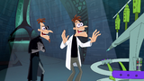 Doofenshmirtz-2 gets happy to see if the Other-Dimensionator is working while Doof-1 watches