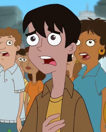 Brown shirt guy