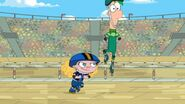Ferb leaps over Suzy