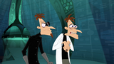 Doofenshmirtz-2 glares at Doof-1 and blames him for his failed invention to open the portal