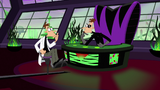 "Both Doofenshmirtzs say ""Hmm"" for the last time"