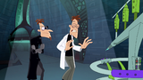 The camera zooms out as Doofenshmirtz-1 approach to the Other Dimensionator for test run