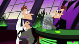 The 2nd Dimension Doofenshmirtz pulls out a jar of coins from his desk