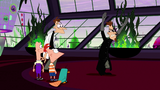 2nd Dimension Doofenshmirtz turning around to look at the boys after tossing the desk to other side 4