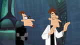 Doofenshmirtz-1 turns his head away from Doof-2 to test his Other Dimensionator