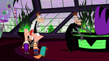 2nd Dimension Doofenshmirtz stands up as he slides his desk away