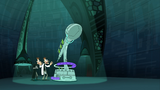 The scene of two different Doofenshmirtz gets zoomed out while Other-Dimensionator portal runs to open teleportation