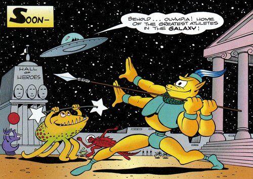 Des extraterrestres s'entraînant sur la planète Olympia.