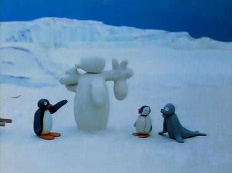 Pingu Builds a Snowman