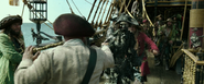 Pirate about to shoot ghost