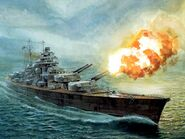 Battleship Bismarck Firing A Salvo