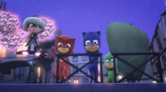 The PJ Masks, Luna Girl, Mothzuki, and the glowy moths watching Romeo drifting off in the canal