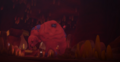 The Splat Monster walks out of the cave, confused