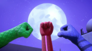 Fist bump under the moon