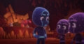 Night Ninja and the Ninjalinos don't see the Splat Monster approaching
