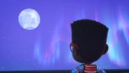 Newton looking at the moon