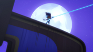 Catboy fires his Super Cat Stripes to Night Ninja's statue