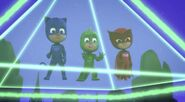 The PJ Masks trapped in a pyramid-like prison