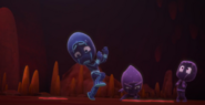 Night Ninja and the Ninjalinos dodge the splats that the Splat Monster is releasing