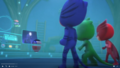 The PJ Masks watching everything through the PJ PIcture Player