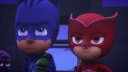 Catboy and Owlette glare at Night Ninja