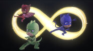 The PJ Masks victory pose and the portal opening symbol