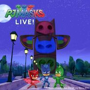 PJ Masks at HQ in the nighttime