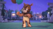 Armadylan holding balloons