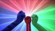 Victory raised fists