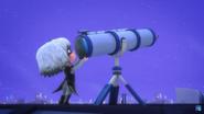 Luna inspecting the telescope.