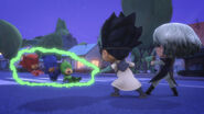 The PJ Masks get zapped by the baby beam by baby Luna
