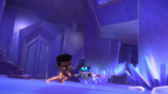 Newton and PJ Robot fist bump