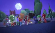 The kids running away from the Pumpkin