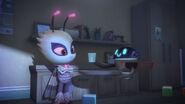 PJ Robot offers Motsuki a glass of milk