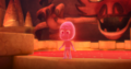 Teeny Weeny starts to glow red after he climbs out of the transforming splat
