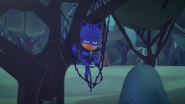 Catboy is stuck up in a tree with his Super Cat Stripes